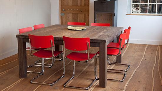 Vierkante massief Eiken tafel, gemaakt van Europees eiken