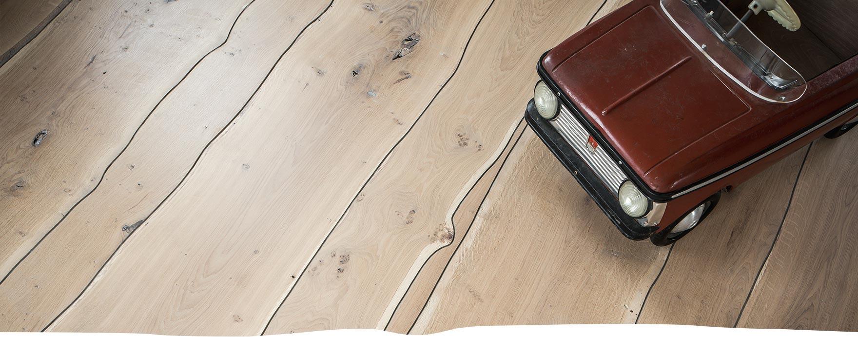 Boomstamvloer ongerookt, op vloerverwarming - De Hout Snip